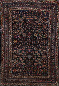 Pre-1900 Antique Vegetable Dye Lilian Persian Area Rug 5x6