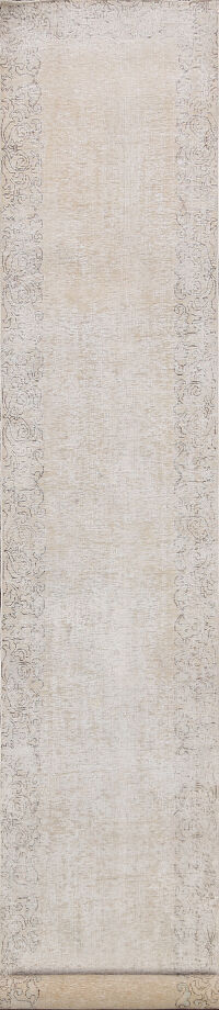 Distressed Bordered Tabriz Persian Runner Rug 2x14