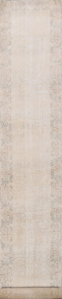 Distressed Bordered Tabriz Persian Runner Rug 2x15