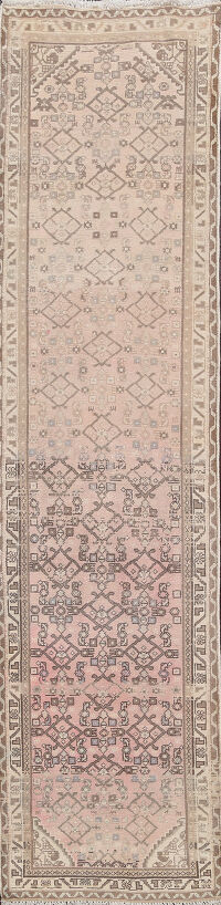 Muted Geometric Hamedan Persian Runner Rug 2x9