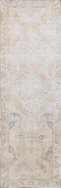Distressed Floral Tabriz Persian Runner Rug 3x9