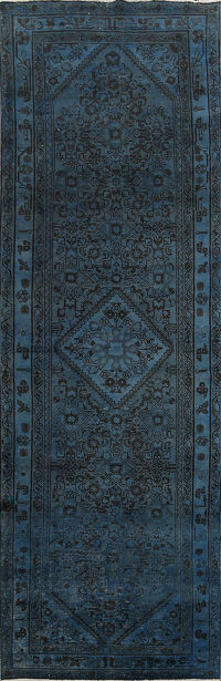 Over-dyed Geometric Tabriz Persian Runner Rug 4x10
