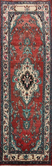 Vegetable Dye Hamedan Persian Runner Rug 4x11