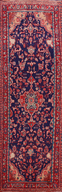 Navy Blue Hamedan Persian Runner Rug 4x11