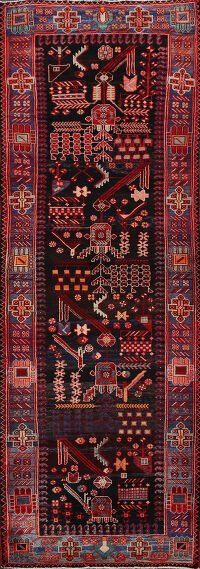 Tribal Geometric Nahavand Persian Runner Rug 4x9
