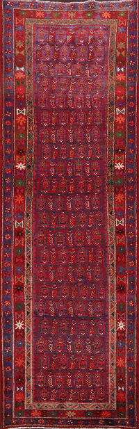 Tribal Red Hamedan Persian Runner Rug 4x9