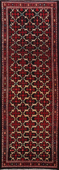 All-Over Hamedan Persian Runner Rug 4x10