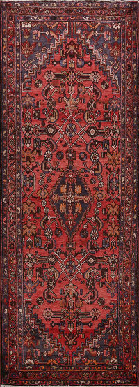 Tribal Geometric Hamedan Persian Runner Rug 4x9