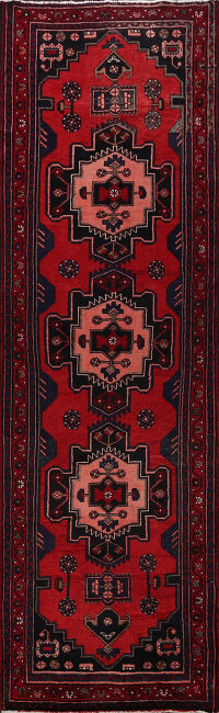 Tribal Geometric Hamedan Persian Runner Rug 3x10