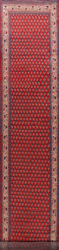 Red Boteh Botemir Persian Runner Rug 3x14