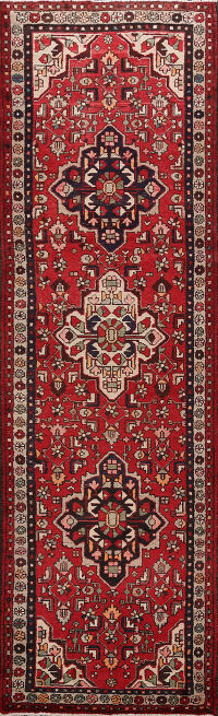 Geometric Red Hamedan Persian Runner Rug 3x10