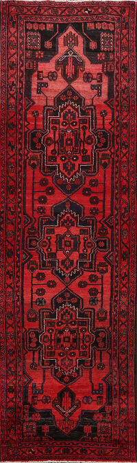 Tribal Red Hamedan Persian Runner Rug 3x10
