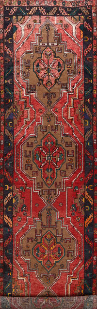 Tribal Red Meshkin Persian Area Rug 4x14