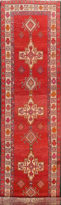 Tribal Red Ardebil Persian Runner Rug 3x13
