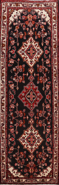 Black Hamedan Persian Runner RUg 4x10