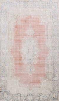 Distressed Floral Kerman Persian Area Rug 10x13