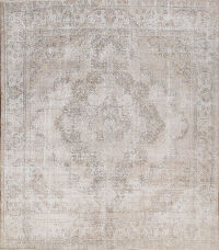 Muted Distressed Tabriz Persian Area Rug 9x9 Square