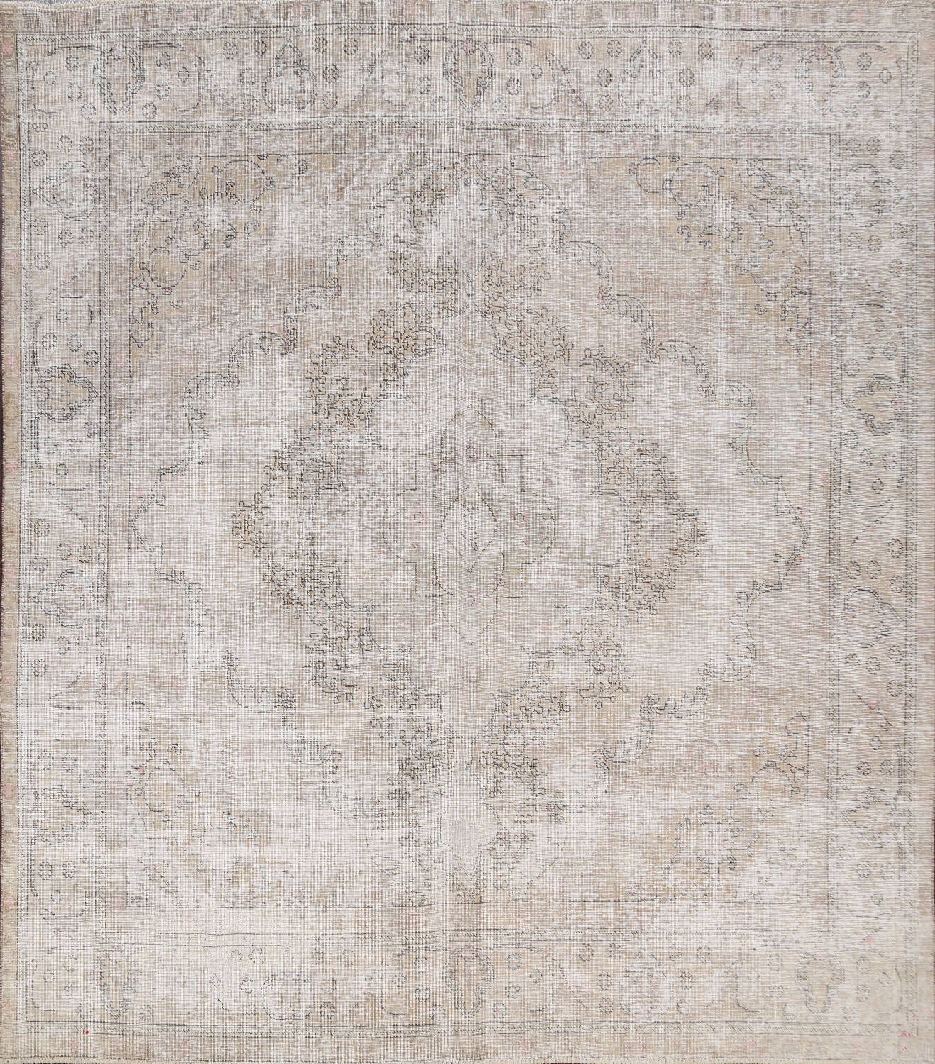 Muted Distressed Tabriz Persian Area Rug 9x9 Square image 1