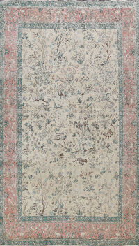 All-Over Animal Pictorial Tabriz Persian Area Rug 8x12