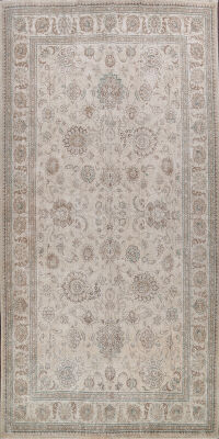 Large Muted Floral Tabriz Persian Area Rug 10x16
