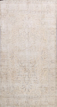 Muted Distressed Floral Tabriz Persian Area Rug 9x13