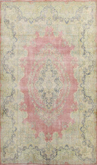 Antique Distressed Floral Kerman Persian Area 10x13