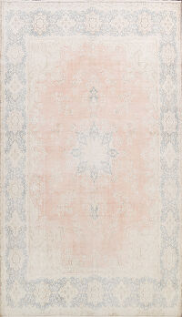 Muted Distressed Floral Kerman Persian Area Rug 10x13