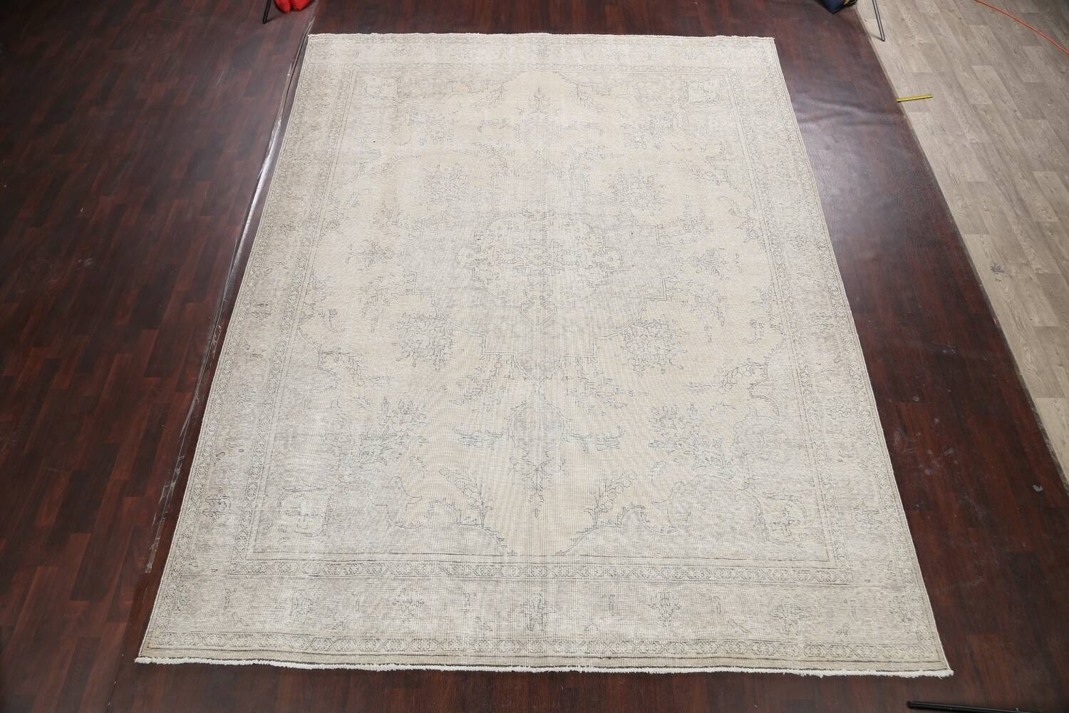 Muted Distressed Floral Tabriz Persian Area Rug 10x13 image 2