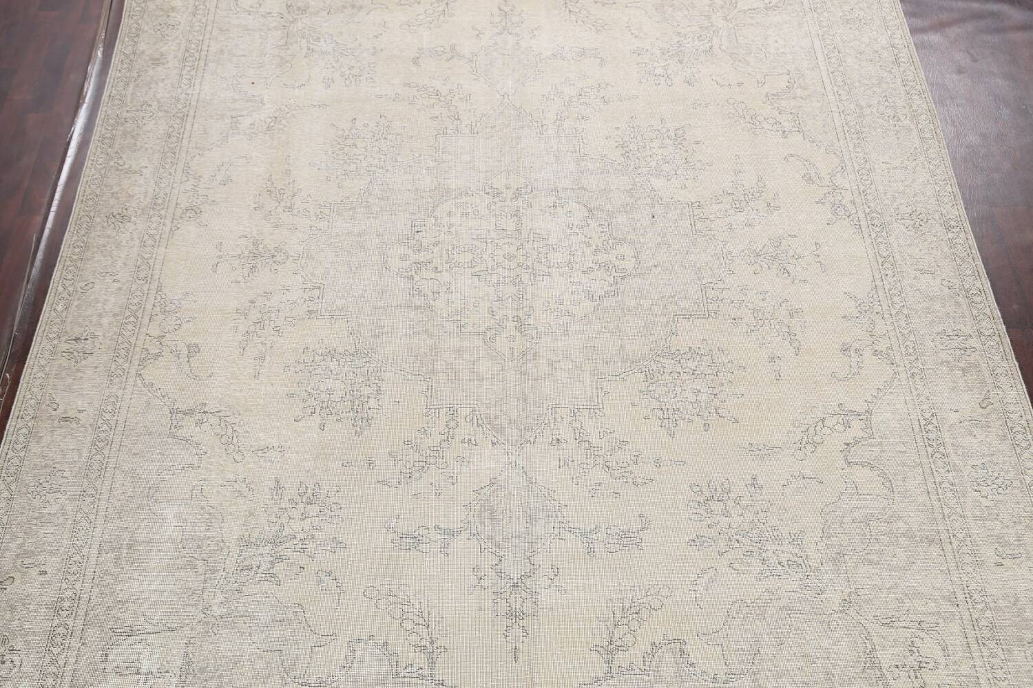 Muted Distressed Floral Tabriz Persian Area Rug 10x13 image 3