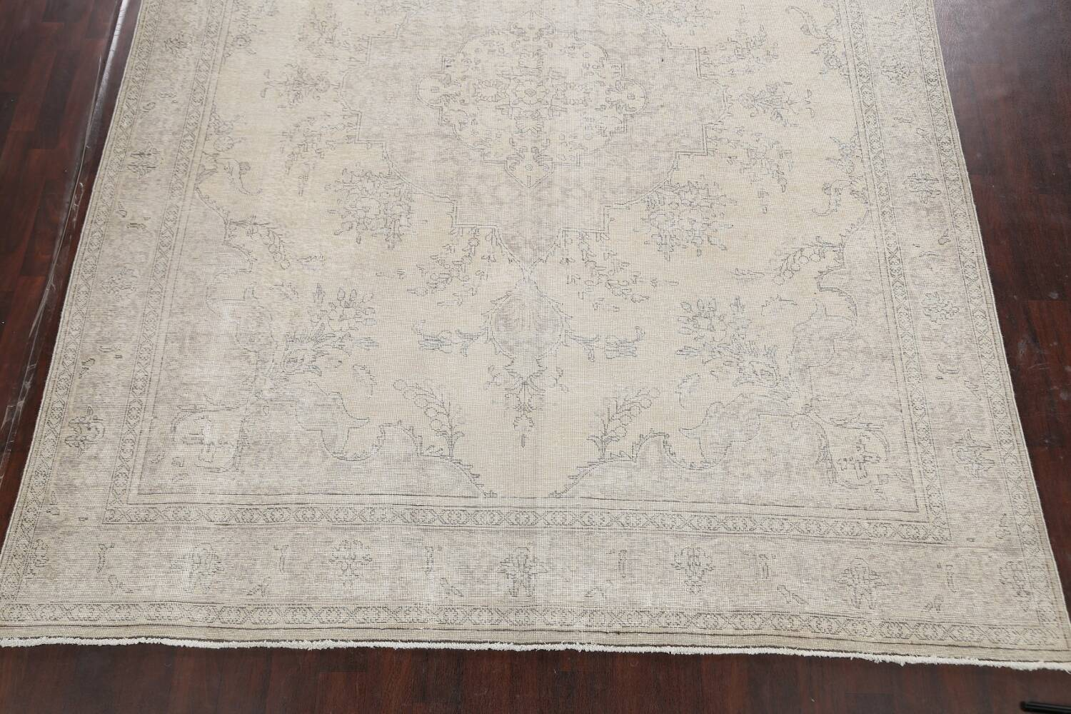 Muted Distressed Floral Tabriz Persian Area Rug 10x13 image 8