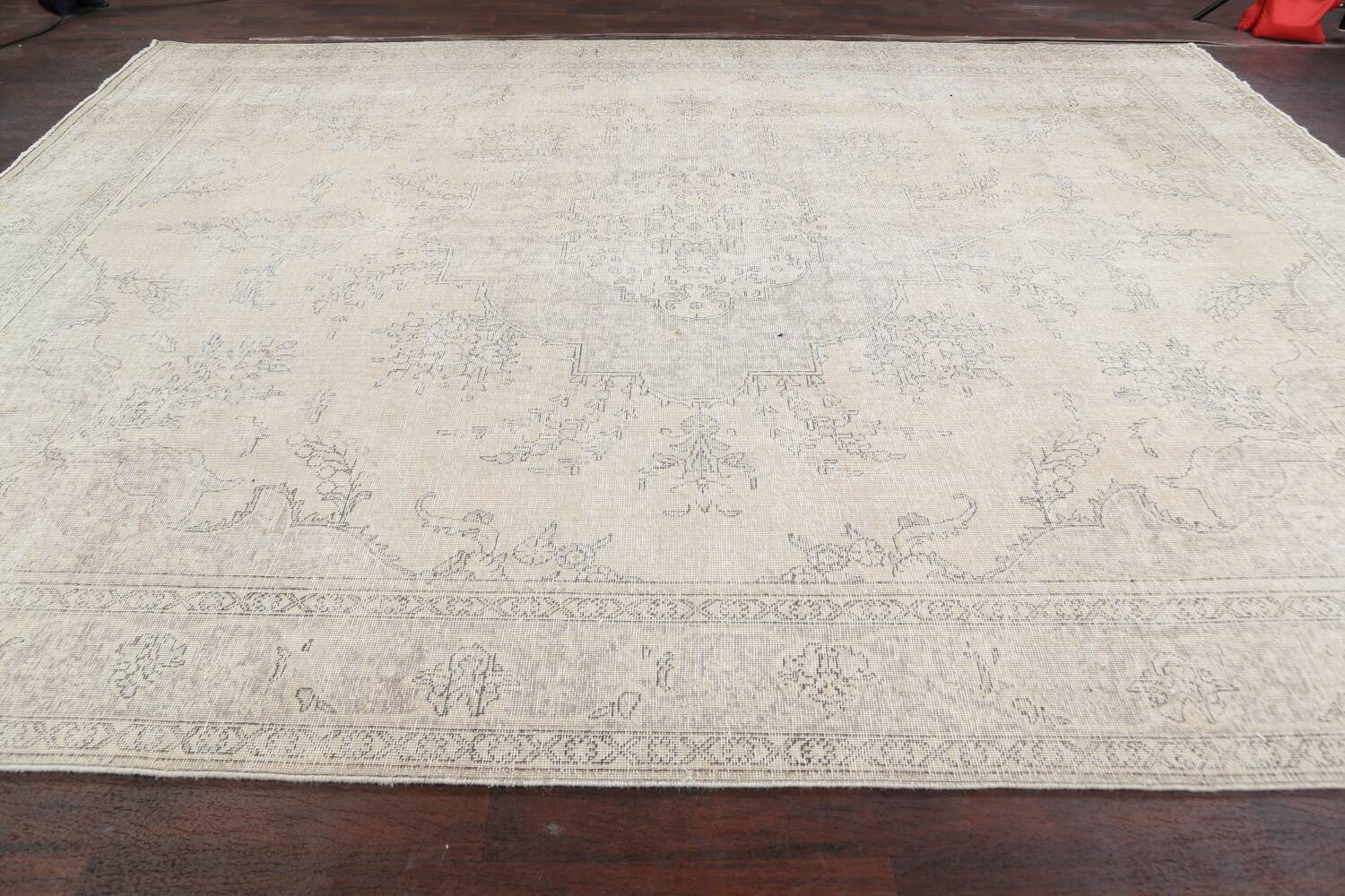 Muted Distressed Floral Tabriz Persian Area Rug 10x13 image 14