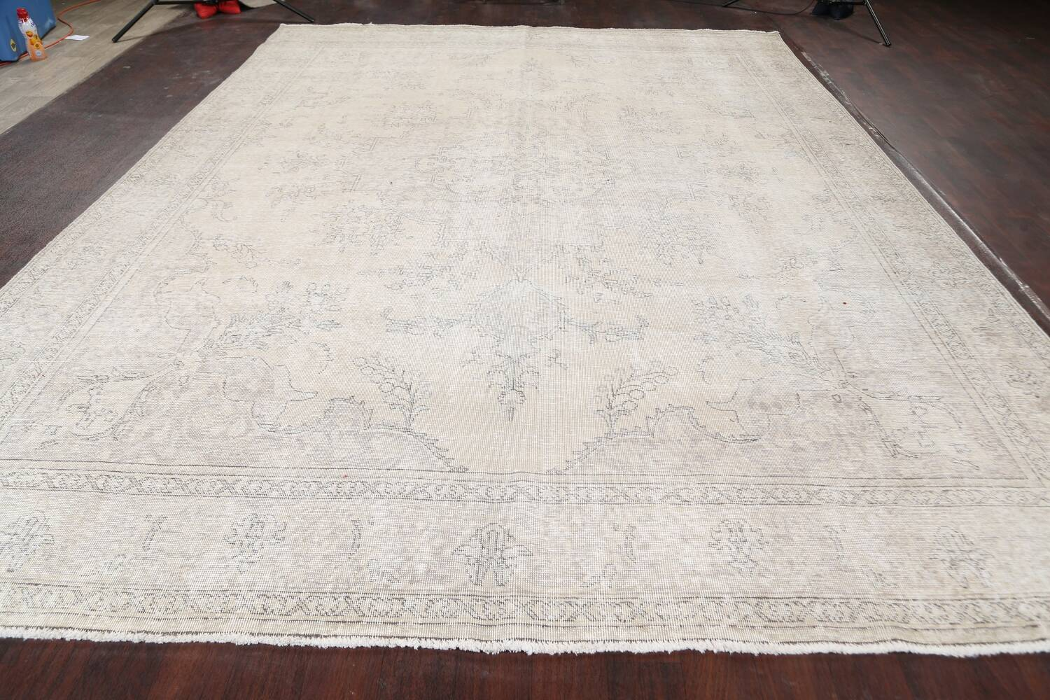 Muted Distressed Floral Tabriz Persian Area Rug 10x13 image 15