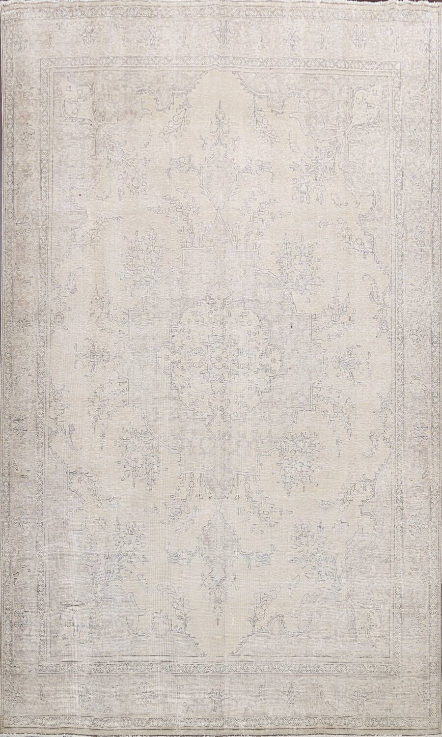 Muted Distressed Floral Tabriz Persian Area Rug 10x13 image 1