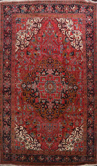 Floral Red Heriz Persian Area Rug 10x14