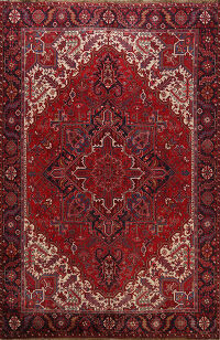 Geometric Red Heriz Persian Area Rug 9x11