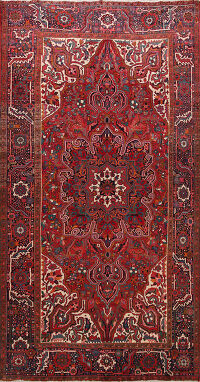 Floral Red Heriz Persian Rug Area 7x11