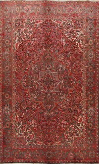 Floral Red Heriz Persian Area Rug 7x10