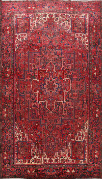 100% Vegetable Dye Geometric Heriz Persian Area Rug 10x13