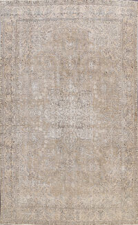Muted Distressed Floral Tabriz Persian Area Rug 8x11