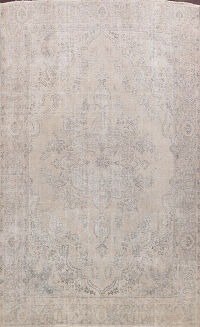 Muted Distressed Floral Tabriz Persian Area Rug 10x12