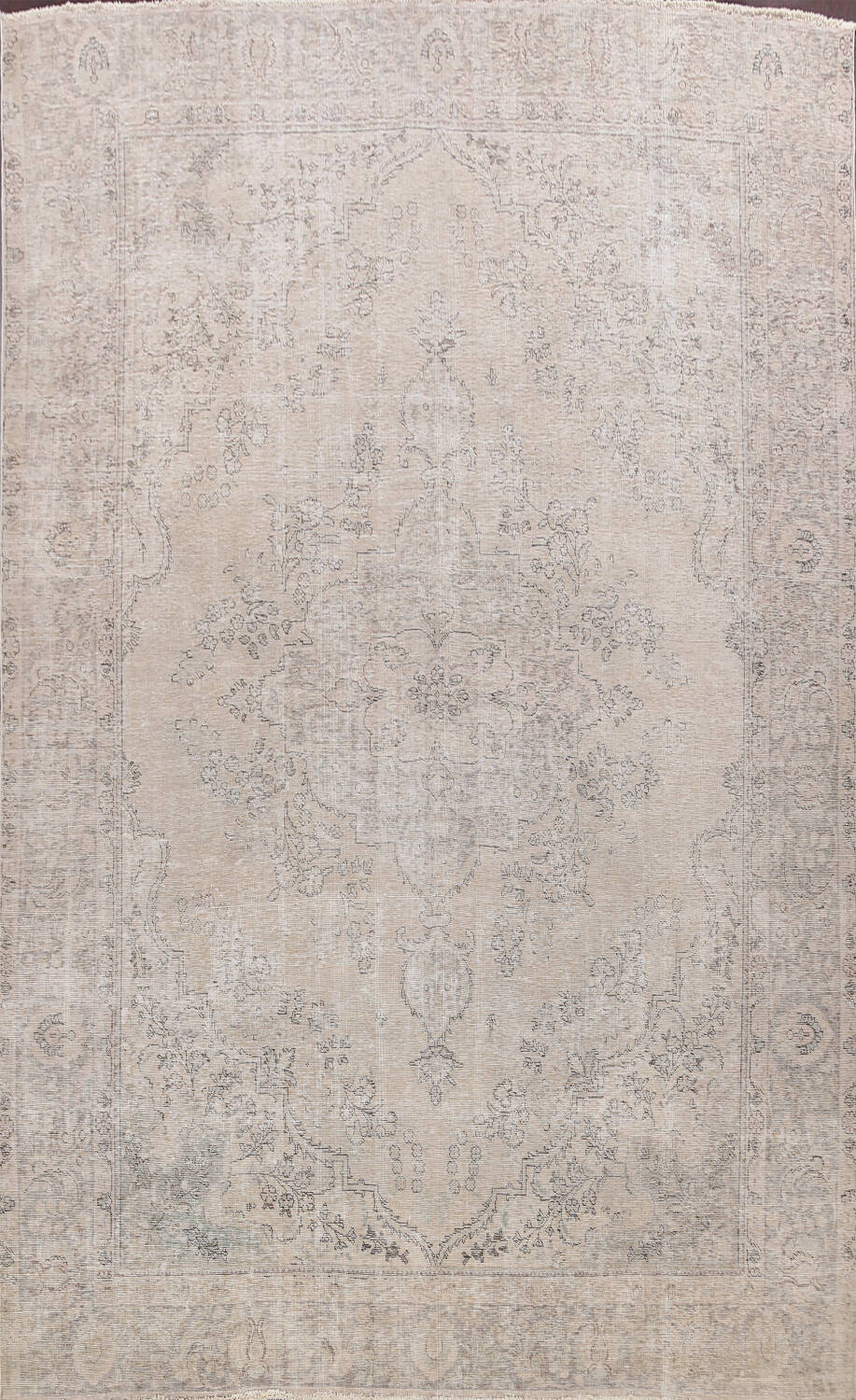 Muted Distressed Floral Tabriz Persian Area Rug 10x12 image 1
