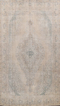 Muted Distressed Floral Tabriz Persian Area Rug 10x13