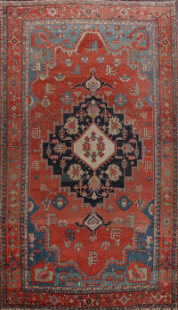 Pre-1900 Antique Heriz Serapi Vegetable Dye Persian Rug 12x16