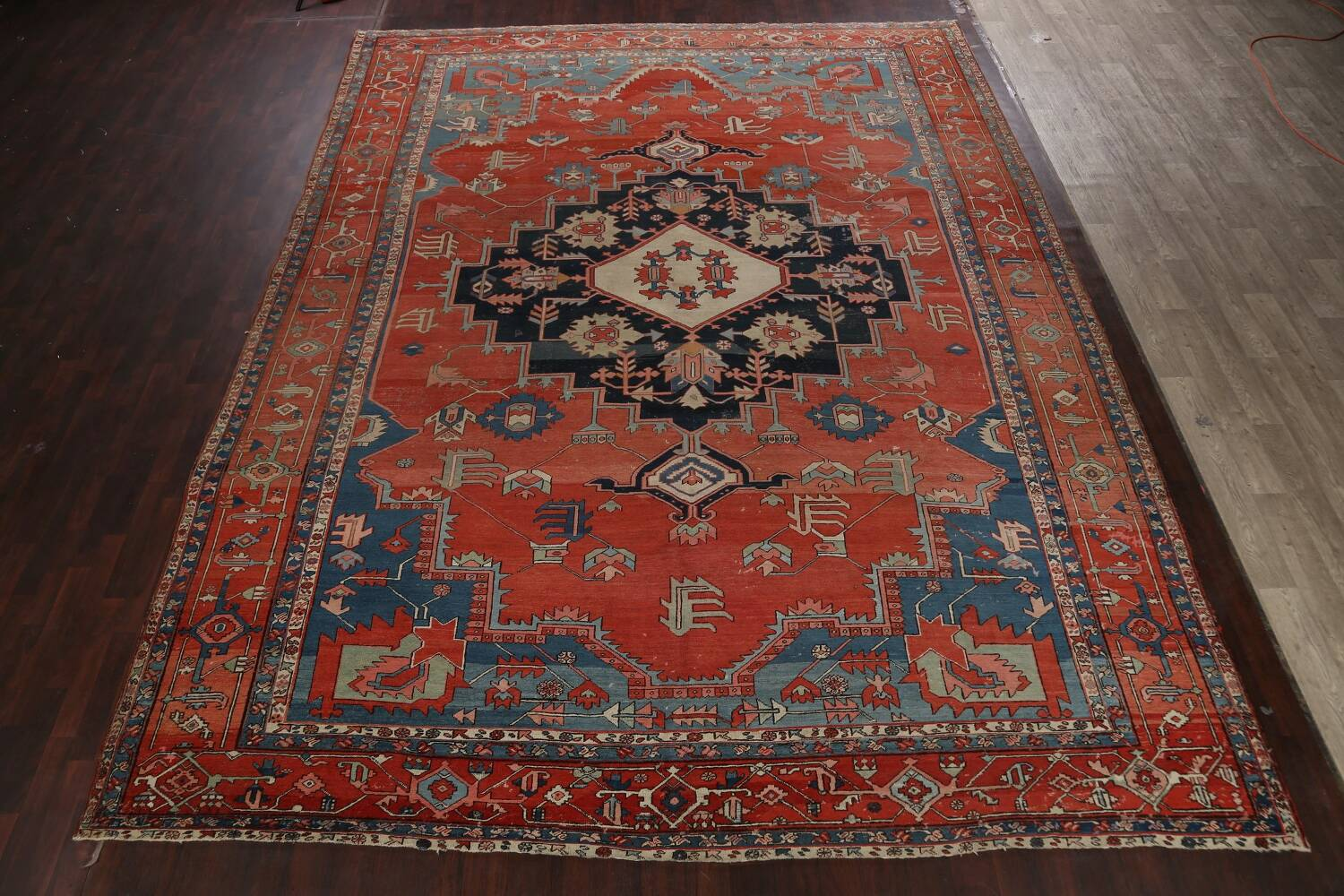 Pre-1900 Antique Heriz Serapi Vegetable Dye Persian Rug 12x16 image 2