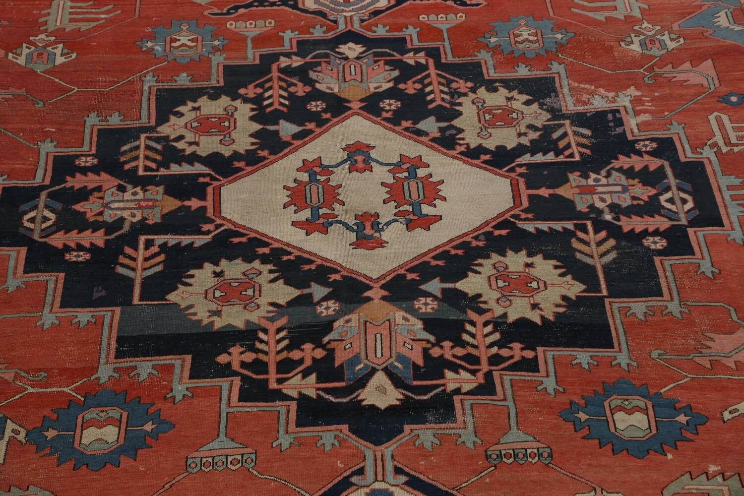 Pre-1900 Antique Heriz Serapi Vegetable Dye Persian Rug 12x16 image 4