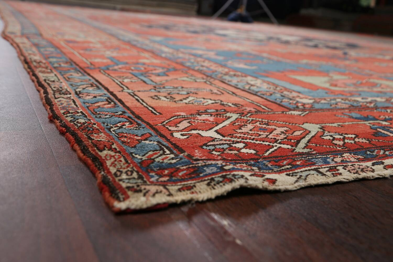 Pre-1900 Antique Heriz Serapi Vegetable Dye Persian Rug 12x16 image 6