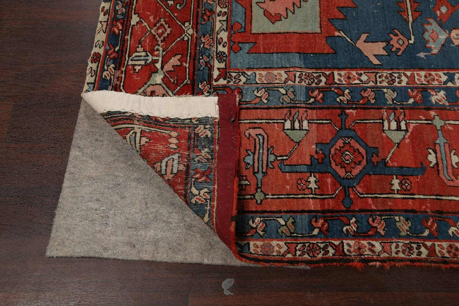 Pre-1900 Antique Heriz Serapi Vegetable Dye Persian Rug 12x16 image 7