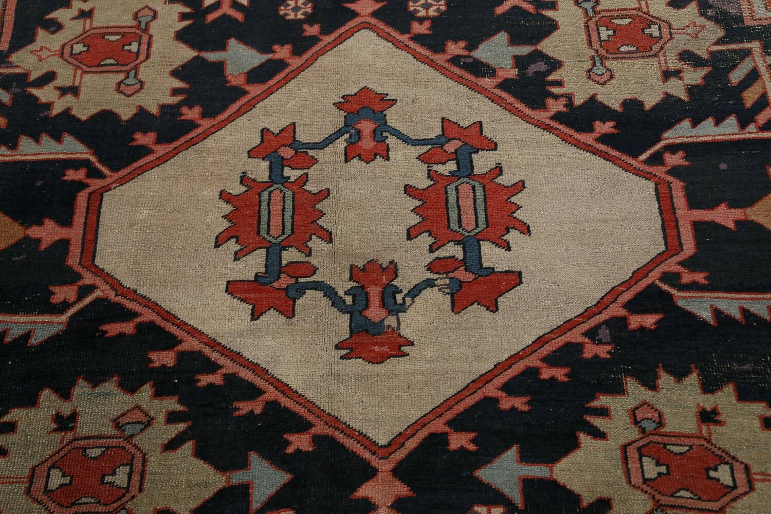 Pre-1900 Antique Heriz Serapi Vegetable Dye Persian Rug 12x16 image 13
