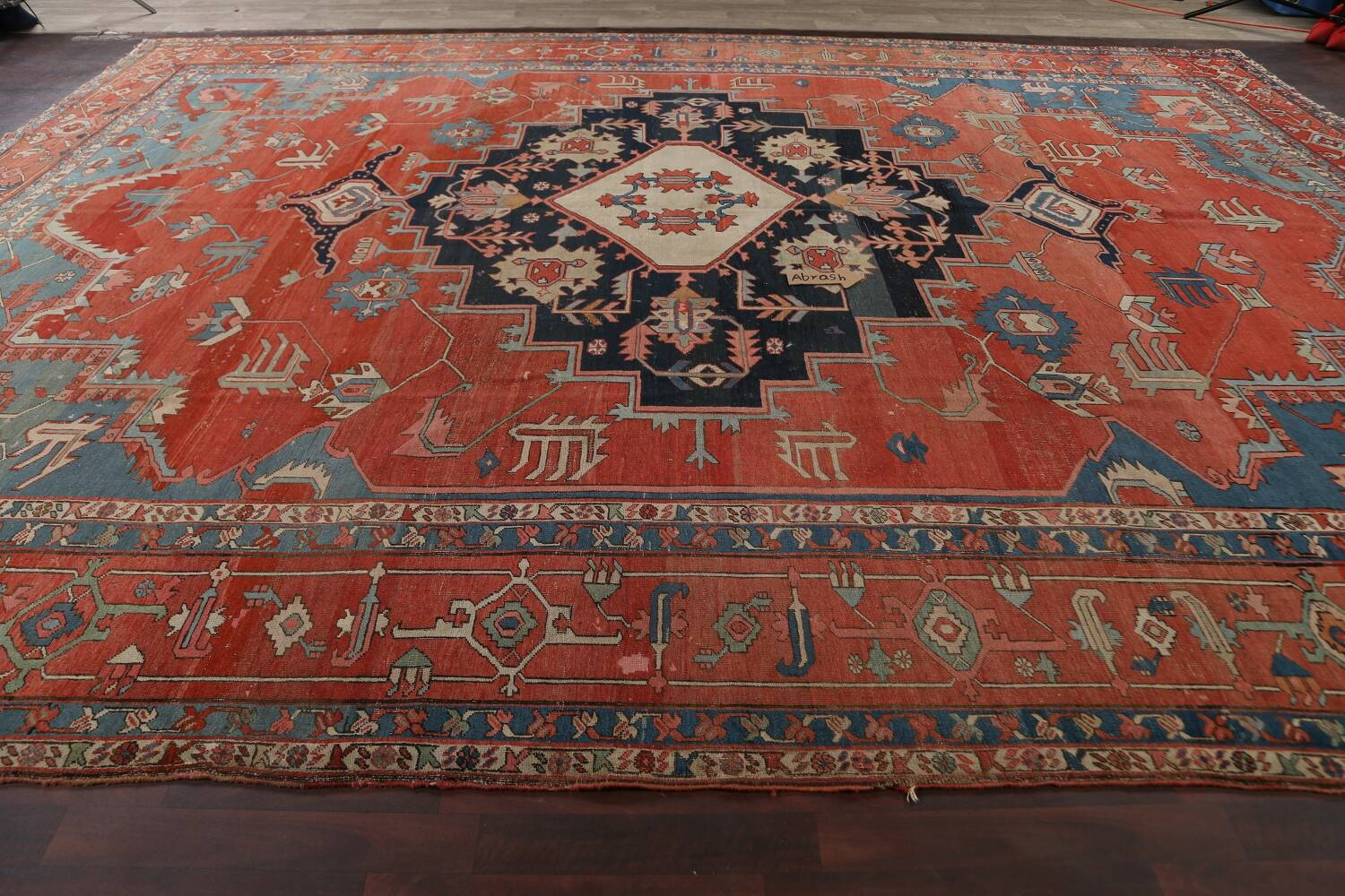 Pre-1900 Antique Heriz Serapi Vegetable Dye Persian Rug 12x16 image 15