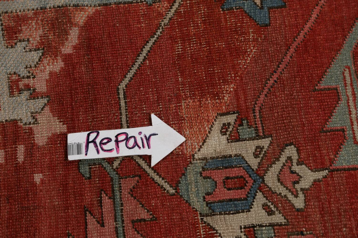 Pre-1900 Antique Heriz Serapi Vegetable Dye Persian Rug 12x16 image 16
